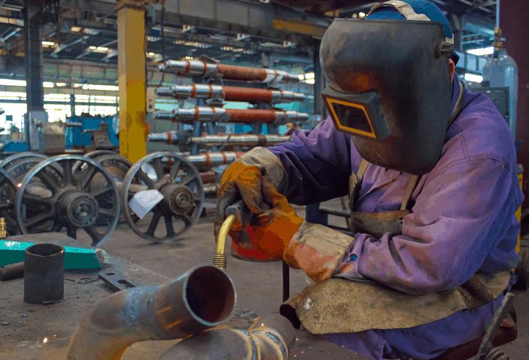 welder working in a workshop